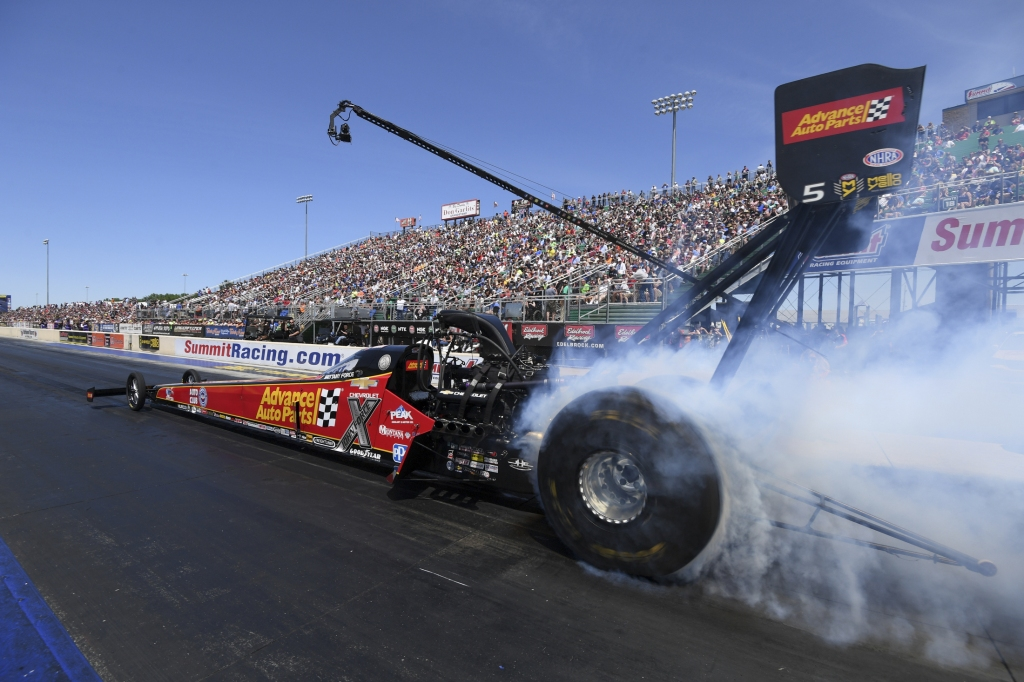 Top Fuel Dragster pilot Brittany Force racing on Saturday at Summit Racing Equipment NHRA Nationals