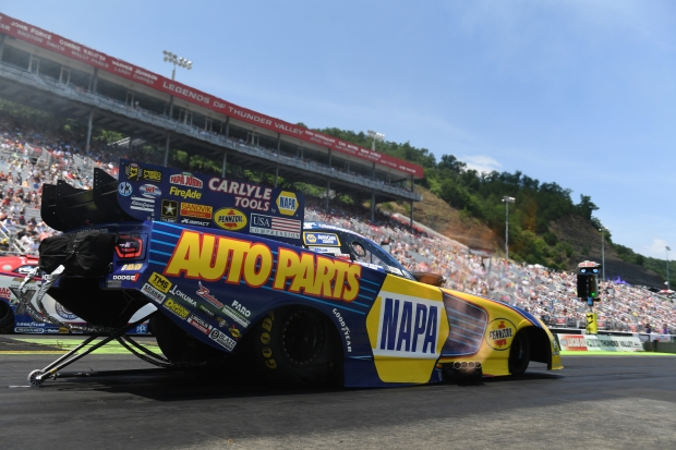 Funny Car pilot Ron Capps racing on Sunday Fitzgerald USA NHRA Thunder Valley Nationals
