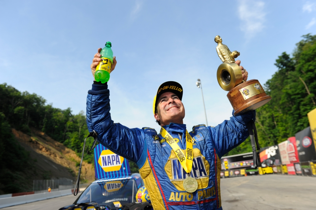 Funny Car pilot Ron Capps after winning the Wally at the Fitzgerald USA NHRA Thunder Valley Nationals