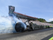 Top Fuel Dragster pilot Tony Schumacher racing on Sunday at the NHRA Thunder Valley Nationals