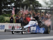 Former Top Fuel Dragster pilot Blake Alexander racing on Sunday at the Summit Racing Equipment NHRA Nationals