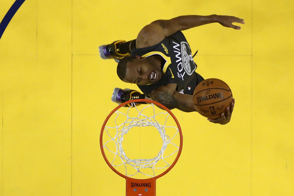Former Golden State Warriors forward Andre Iguodala attempts to dunk the ball against the Toronto Raptors in the 2019 NBA Finals