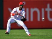 Philadelphia Phillies outfielder Andrew McCutchen plays the ball against the Atlanta Braves