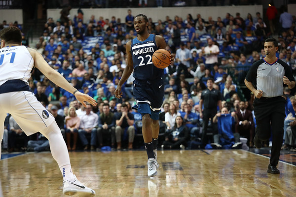 Minnesota Timberwolves guard Andrew Wiggins dribbling the ball against the Dallas Mavericks