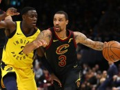 Former Indiana Pacers guard Darren Collison tries to defend George Hill against the Cleveland Cavaliers