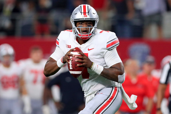 Former Ohio State Buckeyes quarterback Dwayne Haskins looks to attempt a pass against the TCU Horned Frogs