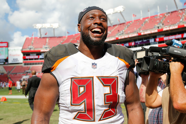 Former Tampa Bay Buccaneers defensive tackle Gerald McCoy reacts after a win against the Philadelphia Eagles