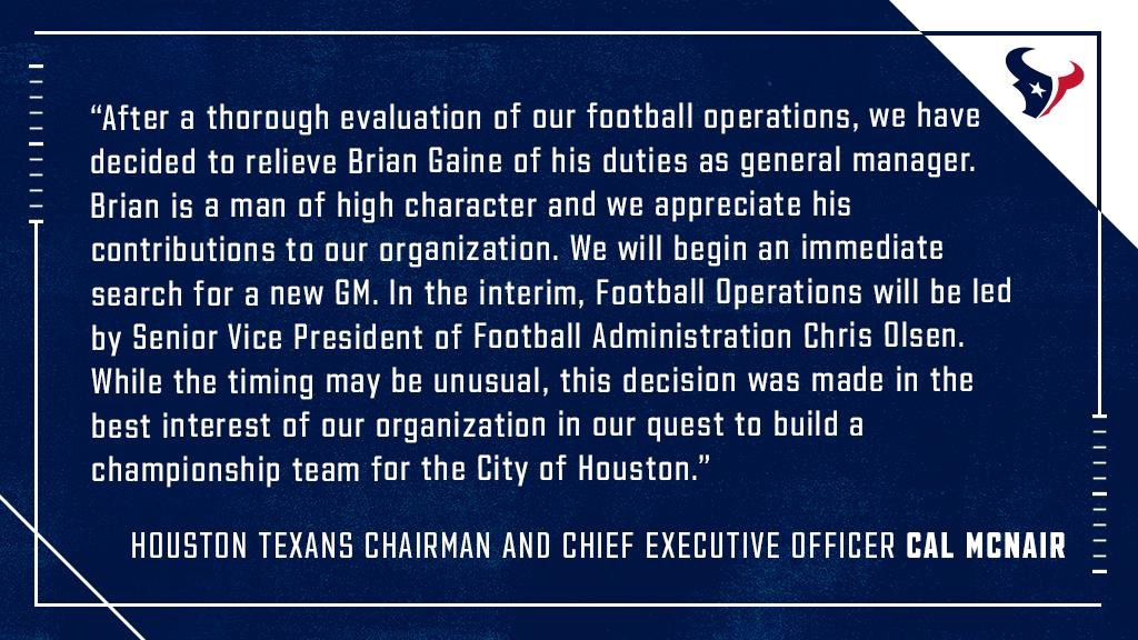 Houston Texans statement