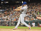 Former New York Mets outfielder Jay Bruce hits a solo home run against the Washington Nationals