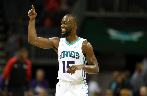 Charlotte Hornets point guard Kemba Walker reacts after a play against the Chicago Bulls