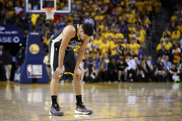 Golden State Warriors star Klay Thompson reacts after a play in Game 4 of the NBA Finals against the Toronto Raptors