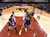 Golden State Warriors guard Klay Thompson attempts to shot against the Toronto Raptors