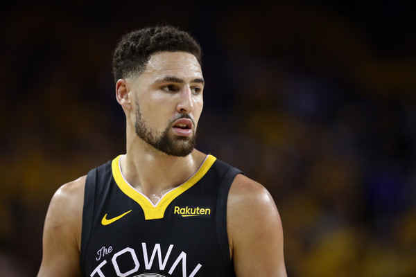 Golden State Warriors guard Klay Thompson reacts to a call against the Toronto Raptors in Game 6 of the 2019 NBA Finals