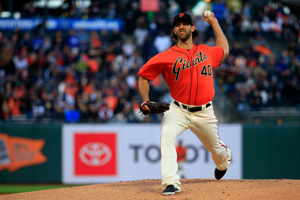 San Francisco Giants pitcher Madison Bumgarner pitches against the New York Yankees