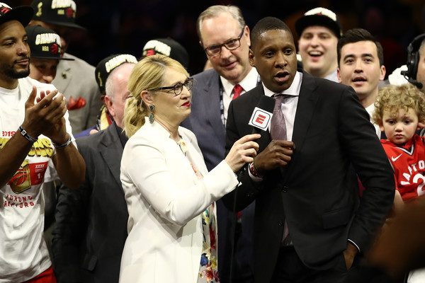 Toronto Raptors President of Basketball Operations Masai Ujiri is interviewed after his team wins the 2019 NBA Finals