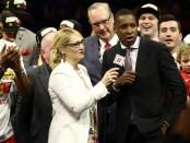 Toronto Raptors President of Basketball Operations Masai Ujiri is interviewed after his team wins the 2019 NBA Finals