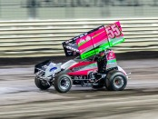 Driver McKenna Haase in her 360 Sprint Car on the track