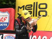 Funny Car pilot Bob Tasca III after winning the Wally on Sunday at the NHRA Thunder Valley Nationals