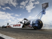 Top Fuel Dragster pilot Steve Torrence warming up on Sunday at the Route 66 NHRA Nationals