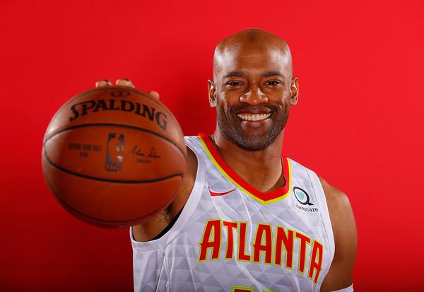 Atlanta Hawks swingman Vince Carter poses for portraits during the team's media day
