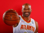 Atlanta Hawks swingman Vince Carter poses for portraits during the team's media day