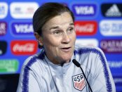 Former US Women's National team coach Jill Ellis attends a news conference at the Stade de Lyon before the World Cup finale