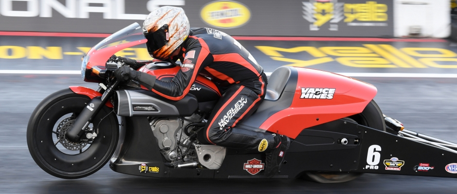 Pro Stock Motorcycle rider Andrew Hines at the 2019 Dodge Mile-High NHRA Nationals
