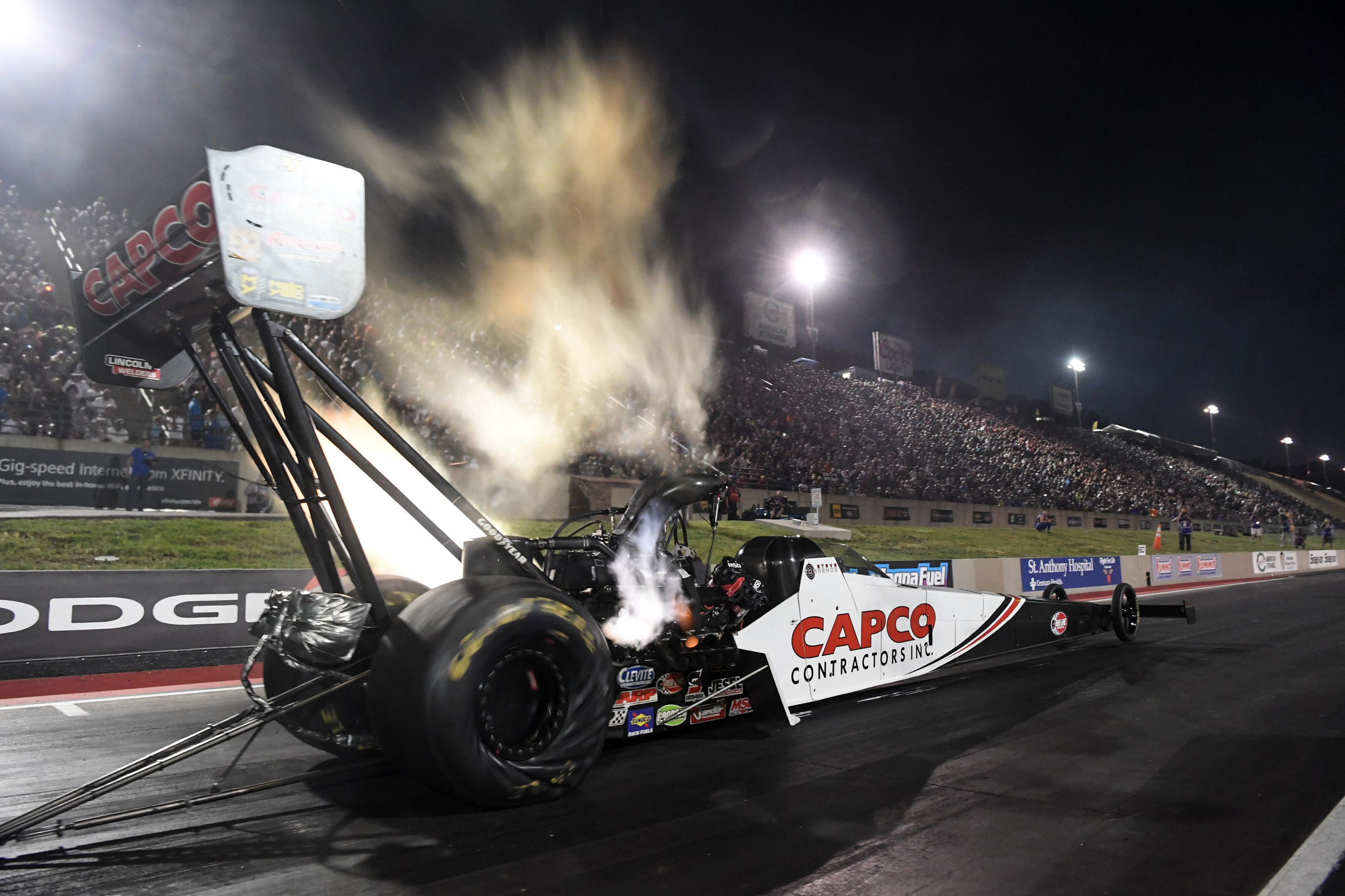 Top Fuel Dragster pilot Steve Torrence racing on Friday at the Dodge Mile-High Nationals presented by Pennzoil