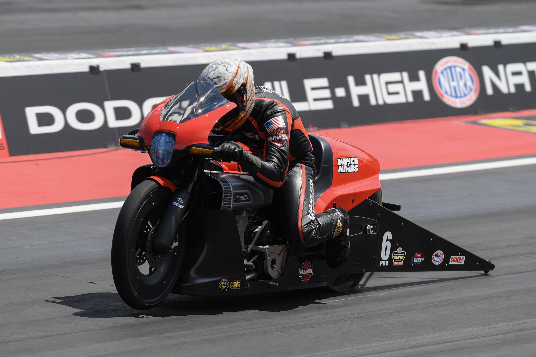 Pro Stock Motorcycle rider Andrew Hines racing on Sunday at the Dodge Mile-High NHRA Nationals presented by Pennzoil