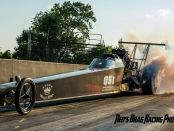 Driver Christine Chambless doing a burnout in her family's Top Alcohol Dragster