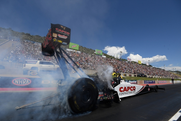 Top Fuel Dragster pilot Steve Torrence racing on Sunday at the Dodge Mile-High NHRA Nationals presented by Pennzoil