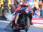 Pro Stock Motorcycle rider Matt Smith racing on Friday at the Matt Smith 2019 Toyota NHRA Sonoma Nationals