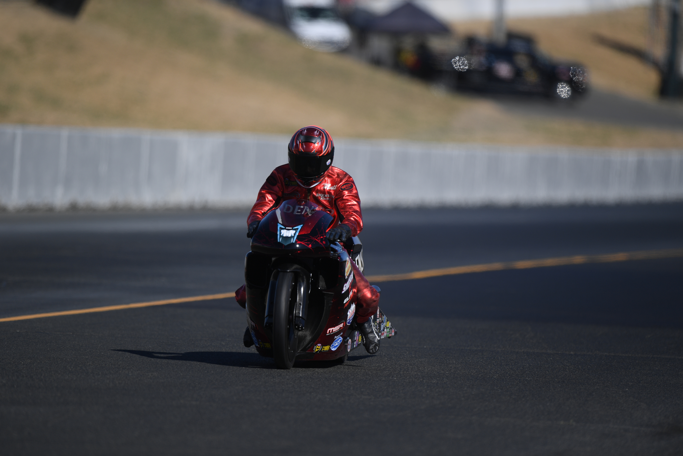 Pro Stock Motorcycle rider Matt Smith racing on Saturday at the 2019 Toyota NHRA Sonoma Nationals
