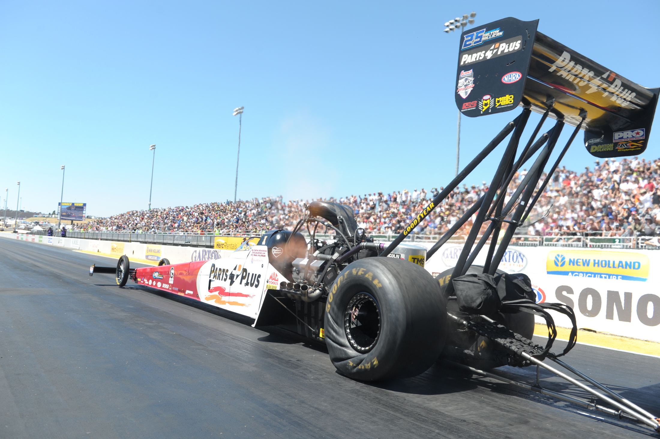 Top Fuel Dragster pilot Clay Millican racing on Saturday at the 2019 Toyota NHRA Sonoma Nationals