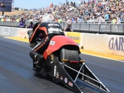 Pro Stock Motorcycle rider Andrew Hines racing on Sunday at the 2019 Toyota NHRA Sonoma Nationals