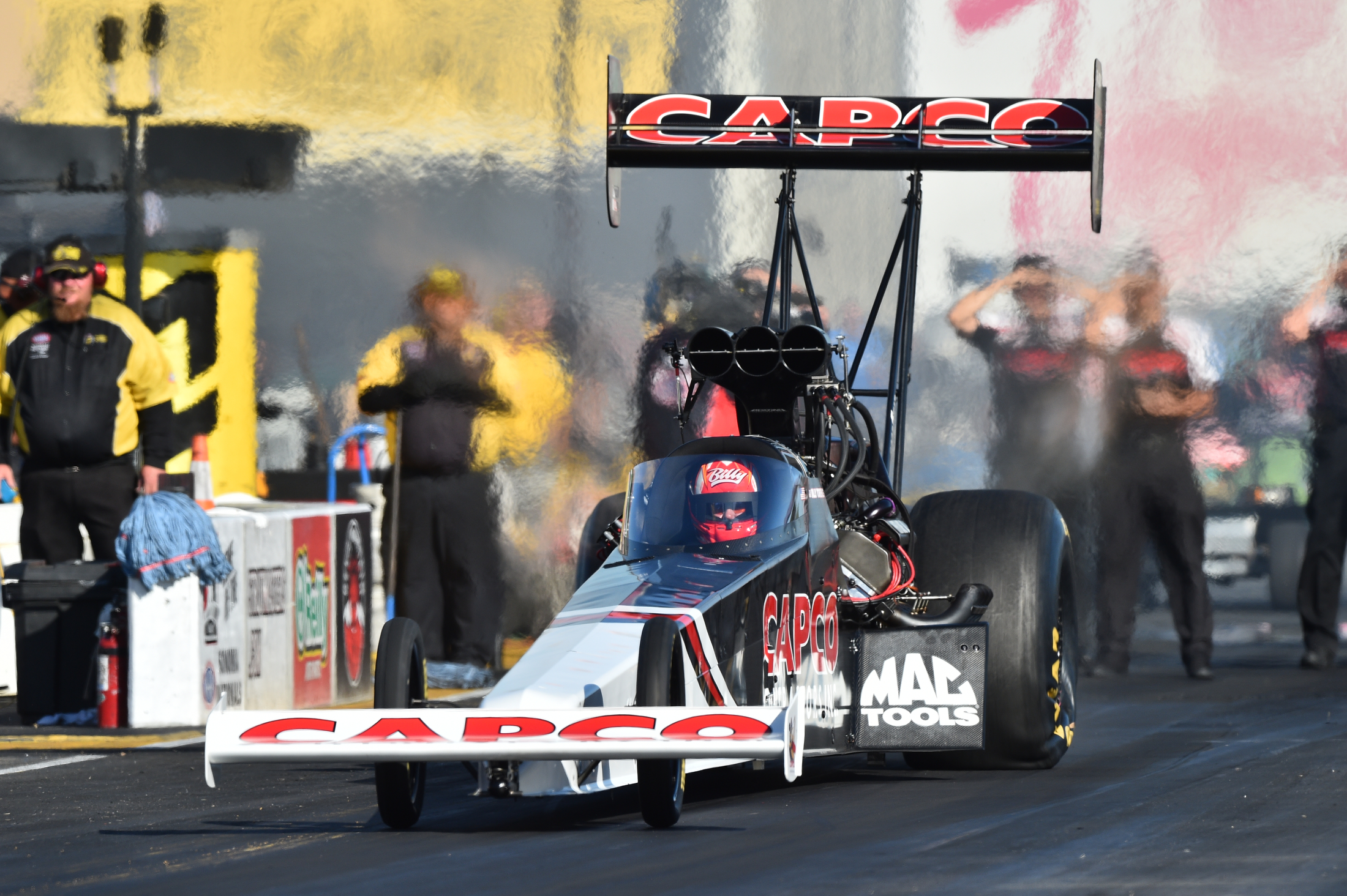 Top Fuel Dragster pilot Billy Torrence racing on Sunday at the 2019 Toyota NHRA Sonoma Nationals