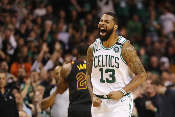 Former Boston Celtics forward Marcus Morris reacts after a play against the Cleveland Cavaliers in the 2018 NBA Playoffs