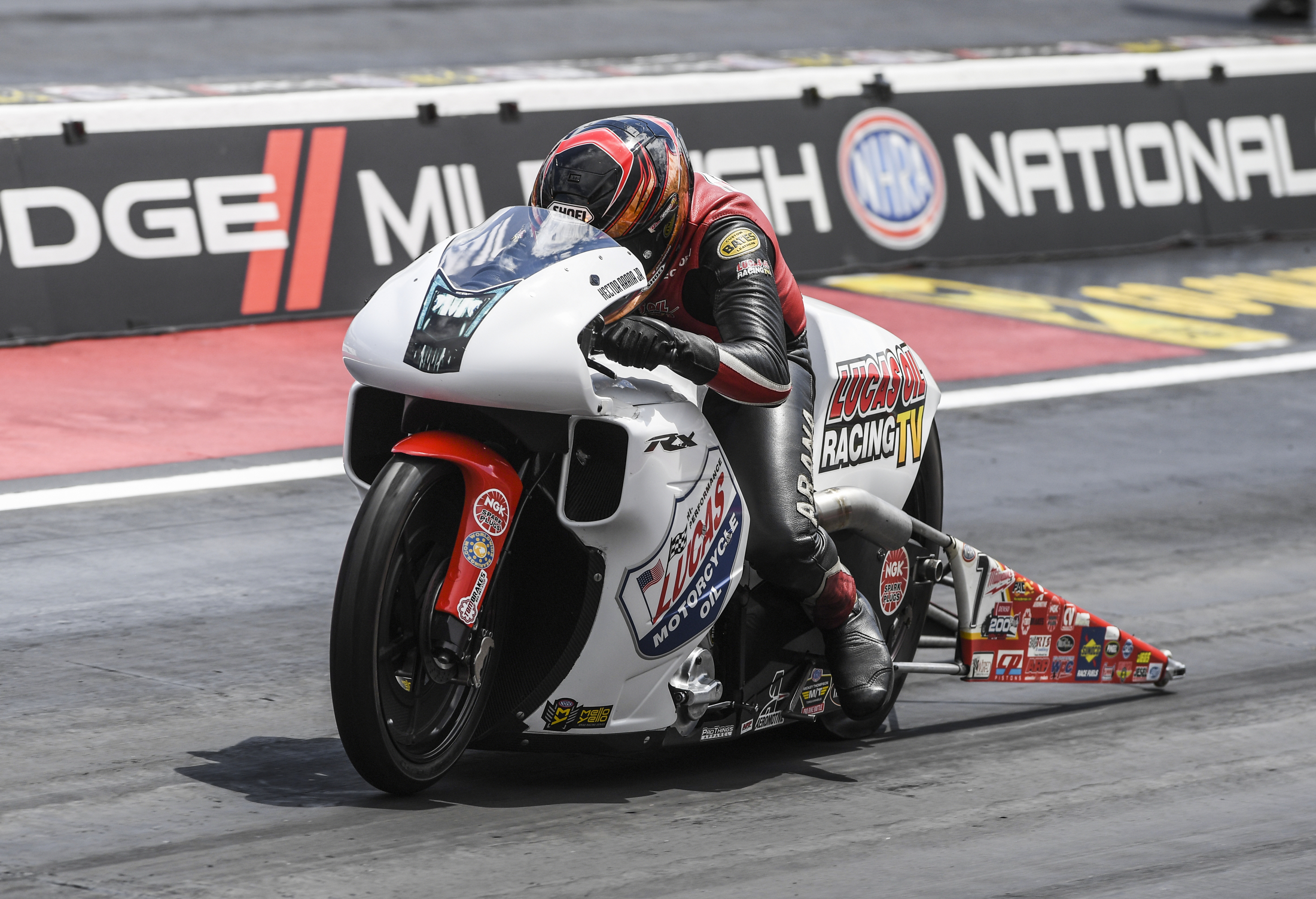 Pro Stock Motorcycle rider Hector Arana Jr. racing on Sunday at the Mopar Mile-High Nationals