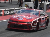Pro Stock driver Greg Anderson racing on Sunday at the Mopar Mile-High Nationals