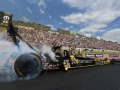 Top Fuel Dragster pilot Leah Pritchett racing on Sunday at the Mopar Mile-High Nationals