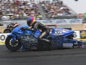 Pro Stock Motorcycle rider LE Tonglet racing on Sunday at the 2018 Toyota NHRA Sonoma Nationals