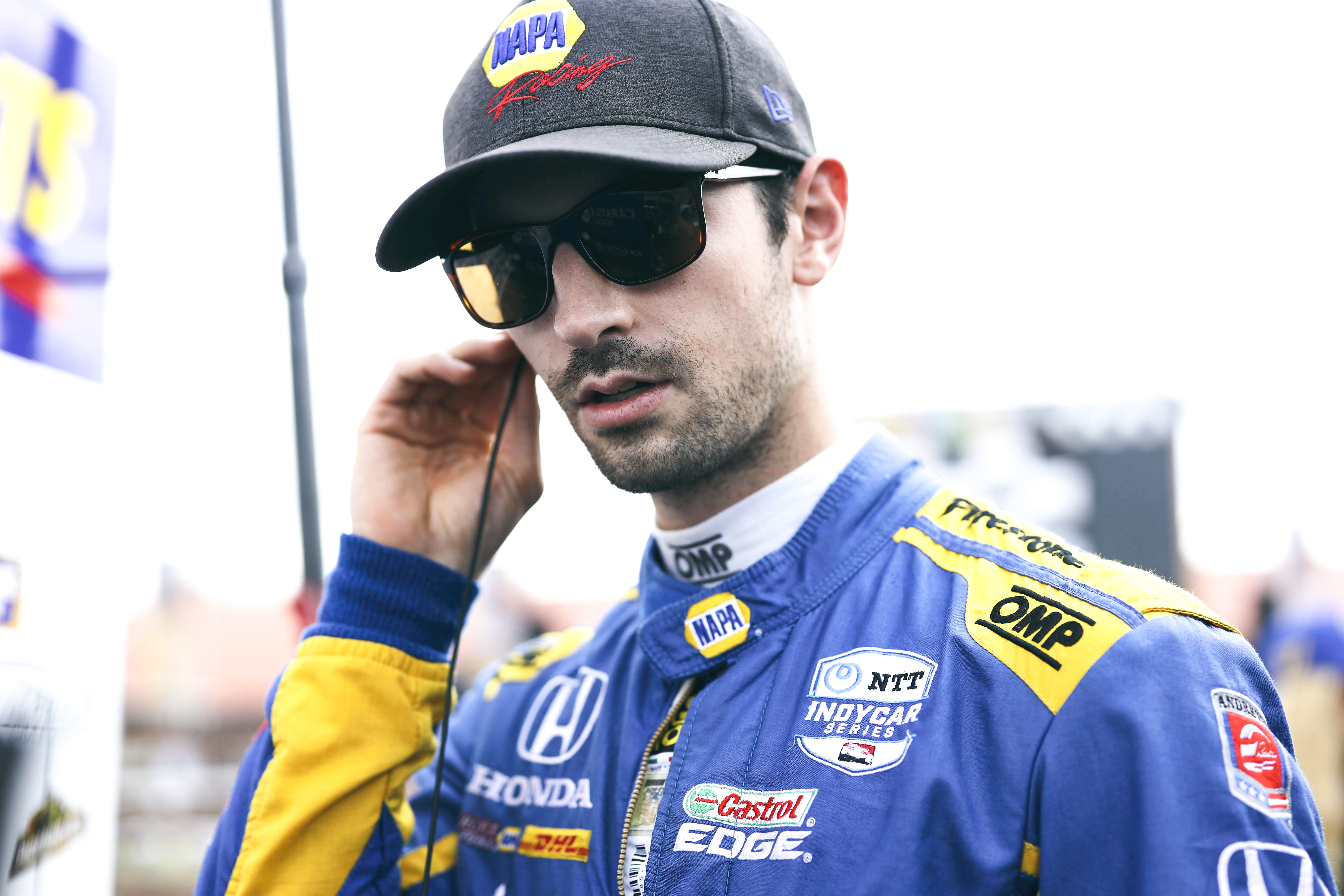 Andretti Autosport IndyCar driver Alexander Rossi prepares to get in his IndyCar at the Honda Indy 200 at Mid-Ohio