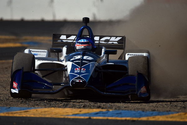 IndyCar driver Takuma Sato misses a turn during qualifying for the Verizon IndyCar Series Sonoma Grand Prix