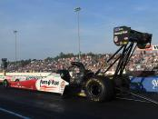 Top Fuel Dragster pilot Clay Millican racing on Friday at the NHRA New England Nationals