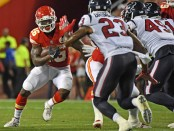 Kansas City Chiefs running back Damien Williams rushing the ball against the Houston Texans