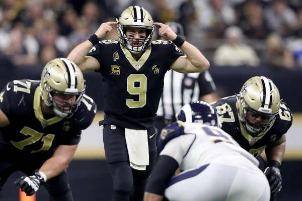 New Orleans Saints quarterback Drew Brees calls a play against the Los Angeles Rams in the 2019 NFC Championship Game