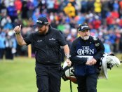Pro Golfer Shane Lowry walking to the 18th hole at The Open