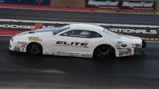 Pro Stock driver Richard Freeman racing on Saturday at the 2019 Dodge Mile-High Nationals presented by Pennzoil