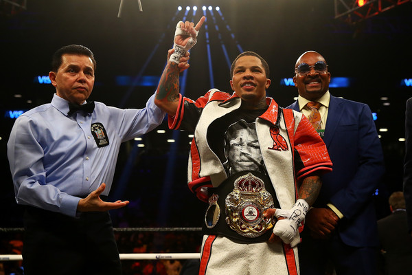 Boxer Gervonta Davis celebrates a win over Jesus Cuellar