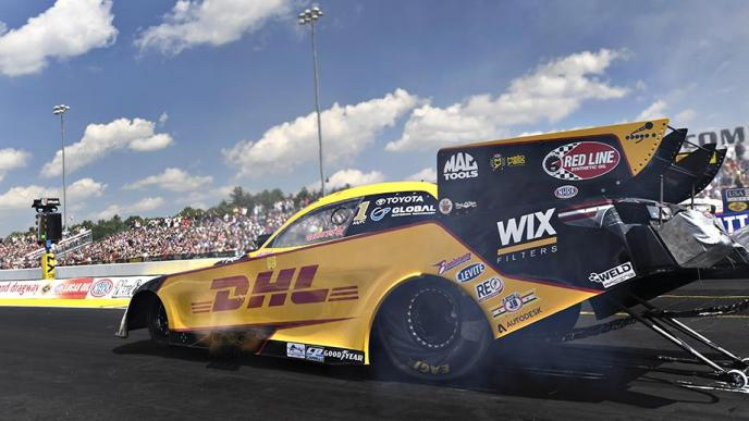 Funny Car pilot J.R. Todd racing on Saturday at the NHRA New England Nationals